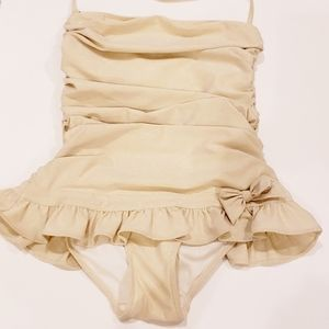 JUICY COUTURE ONE PIECE GOLD BATHING SUIT, SMALL